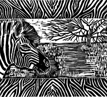 """Glorious Africa"" Linocut Print by Catherine  Howell"