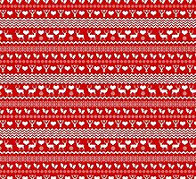 Red Reindeer Christmas Sweater Pattern by AntiqueImages