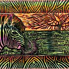 """Hand Colored """"Glorious Africa"""" Linocut Hand Pulled Print by Catherine  Howell"""