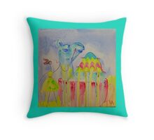 Camel in a teacup Throw Pillow