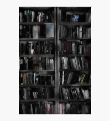 Black and White Book Shelves Photographic Print