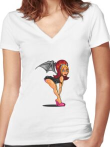 Devil Girl Pinup Women's Fitted V-Neck T-Shirt