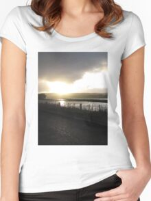 Cape Liptrap golden sunset on water after rain Women's Fitted Scoop T-Shirt