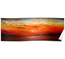 Panoramic Red Sunset Poster