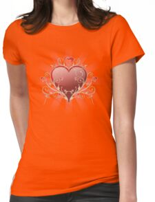 Valentine Love - Big Shiny Heart Gold Scroll T-shirt Womens Fitted T-Shirt