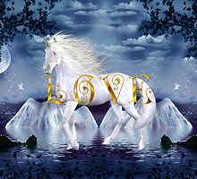 Unicorn White Beauty Magical Wonderland Gold Love by mickeyelvis128
