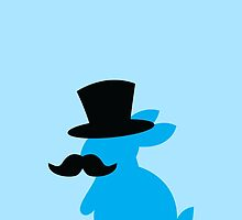 BLUE Bunny rabbit in a Top hat with a moustache  by jazzydevil