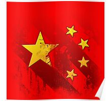 Grungy China flag Poster
