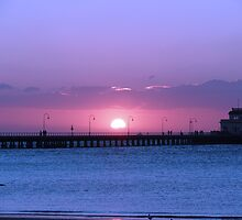 St Kilda Pier in Melbourne, Victoria at sunset by tones1605