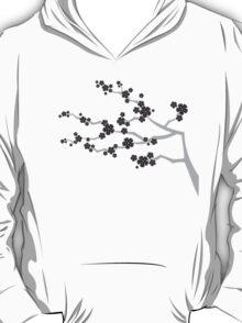 Black Sakura Cherry Blossoms Flowers T-Shirt
