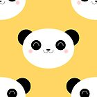 Cute Happy Panda Pattern by Lisa Marie Robinson