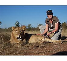 Stroking a Lion Photographic Print