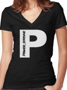PowerStroke White Women's Fitted V-Neck T-Shirt