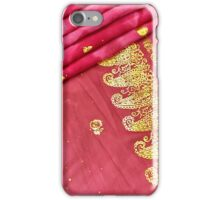 Traditional Pink Gold Asian Indian Sari Pattern Wedding Gown iPhone Case/Skin