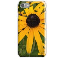 Green insect on leaf of yellow flower iPhone Case/Skin