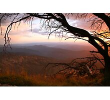"""Sunset view from """"The Horn"""" at Mt Buffalo, Australia Photographic Print"""