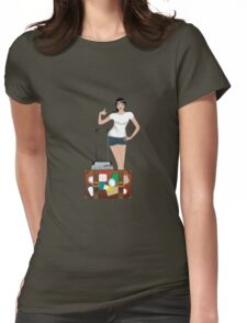 Traveling Girl Womens Fitted T-Shirt