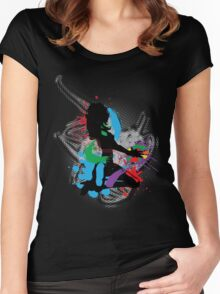 Illustration of a music DJ Women's Fitted Scoop T-Shirt