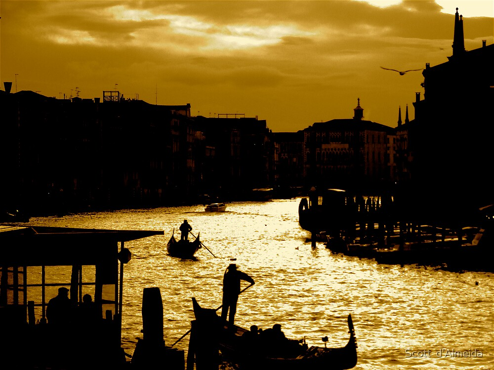 CANAL LIFE IN VENICE by Scott  d'Almeida