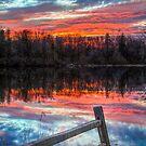 Sundown Pond and Fence by Kenneth Keifer