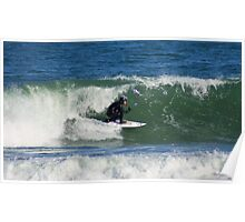 Winter Surfing at the Outer Banks in North Carolina. Poster