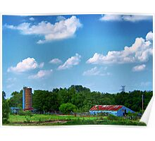 Old Country Barn and Silo Poster