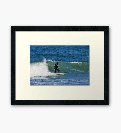 Surfing at Cape Hatteras North Carolina in the Winter Framed Print
