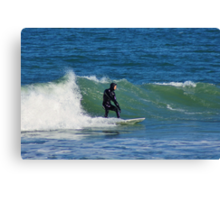 Surfing at Cape Hatteras North Carolina in the Winter Canvas Print