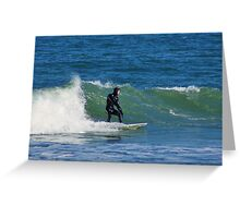 Surfing at Cape Hatteras North Carolina in the Winter Greeting Card