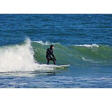 Surfing at Cape Hatteras North Carolina in the Winter Photographic Print