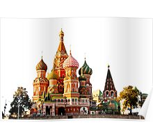 St Basil Cathedral, Moscow, isolated on white Poster