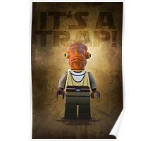 Admiral Akbar -  It's a Trap! - Star wars lego digital art.  Poster