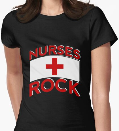 Nurses Rock Womens Fitted T-Shirt