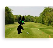 Cat Teeing Off Canvas Print