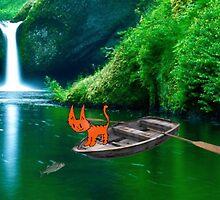 Cat at A Lake Fishing by JohnsCatzz