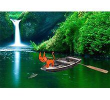 Cat at A Lake Fishing Photographic Print