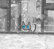 Cat Looking Out The Window In Winter by JohnsCatzz