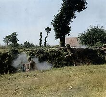 G.I.'s from the 79th Infantry Division fighting in bocage terrain by Mads Madsen