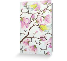 White-eyes on magnolia tree Greeting Card