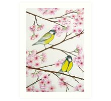 Tits on sakura tree Art Print