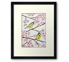 Tits on sakura tree Framed Print