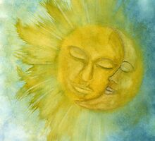 Sun and Moon Watercolor Painting by riet8995