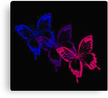 Bisexual Flag Butterflies on Black Canvas Print