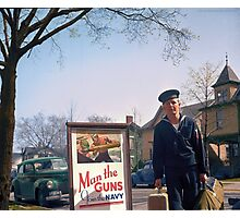 US Navy Yeoman Next to Recruitment Poster Photographic Print