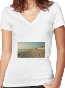 Portland Beach  Women's Fitted V-Neck T-Shirt