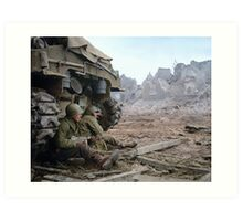 Two U.S. soldiers Take Cover Behind M-4 Sherman Art Print