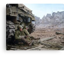 Two U.S. soldiers Take Cover Behind M-4 Sherman Canvas Print