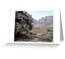 Two U.S. soldiers Take Cover Behind M-4 Sherman Greeting Card