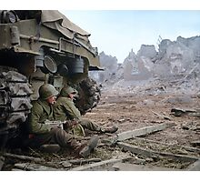 Two U.S. soldiers Take Cover Behind M-4 Sherman Photographic Print