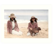 Jean and Charlotte Palmer On the Beach Art Print